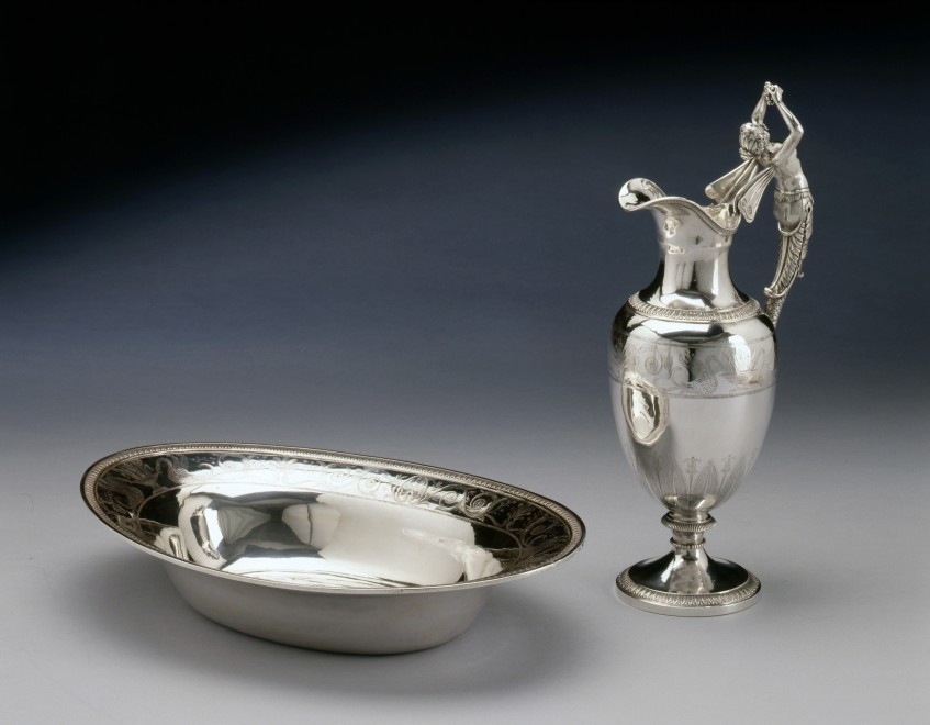 An Empire engraved figural ewer and oval basin by Xavier-Nicolas Goulain
