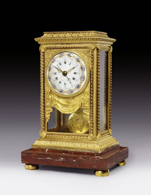A Louis XVI table regulator of fourteen day duration, by Renacle-Nicolas Sotiau enamel work by Joseph Coteau