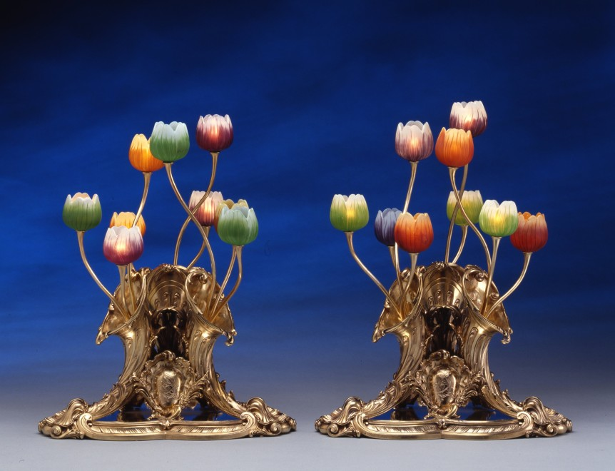 A pair of table lamps, the silver gilt bases by Lucien Falize, the glass by Emile Gallé