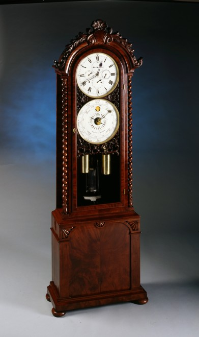 A longcase regulator, month going with annual calendar quarter strike, by John Woodwiss