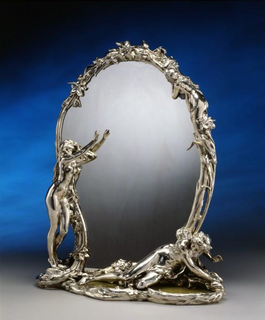 """An Art Nouveau  toilet mirror entitled """"La Métamorphose de Narcisse"""" by Christofle à Paris after a model by René Rozet"""