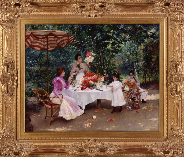 """In the Garden"", by Edouard Frédéric Wilhelm Richter"