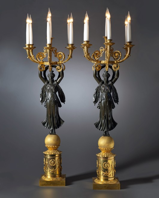 A pair of grand Empire six-light figural candelabra attributed to Claude Galle