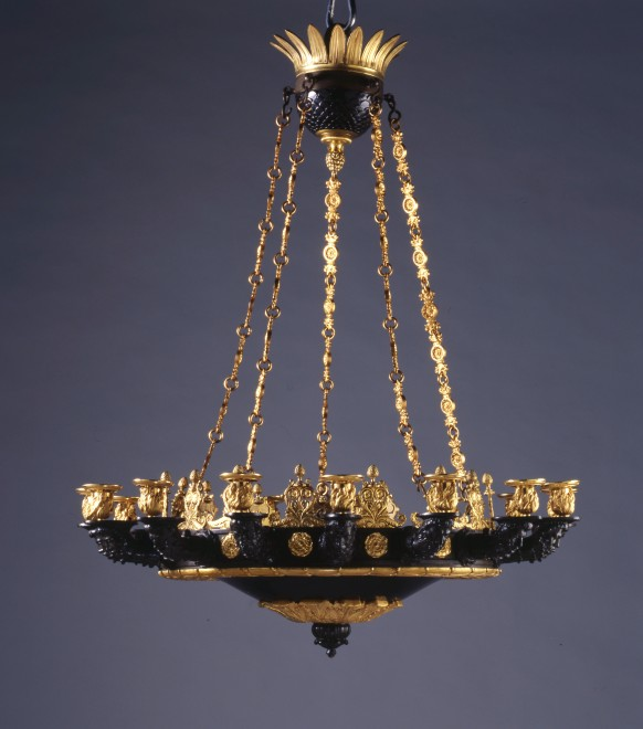 A Restauration figural fifteen-light chandelier