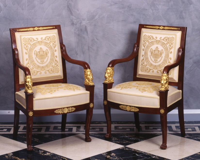 A set of four Empire fauteuils attributed to Jacob-Desmalter et Cie