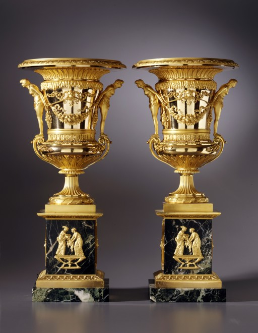 A pair of large sized St. Petersburg Empire vases attributed to Friedrich Bergenfeldt
