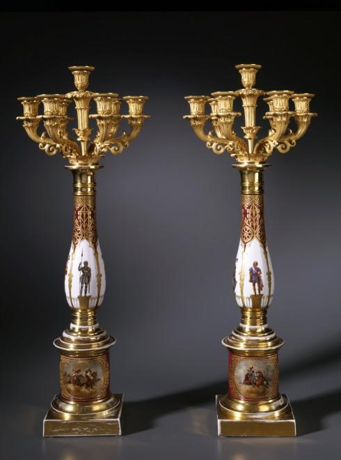 A pair of Restauration seven-light candelabra