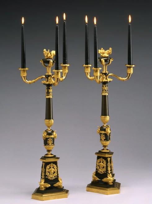 A pair of Empire four-light candelabra