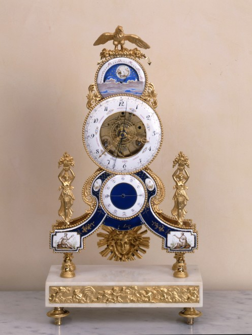 A Louis XVI astronomical skeleton clock, enamel work attributed to Joseph Coteau