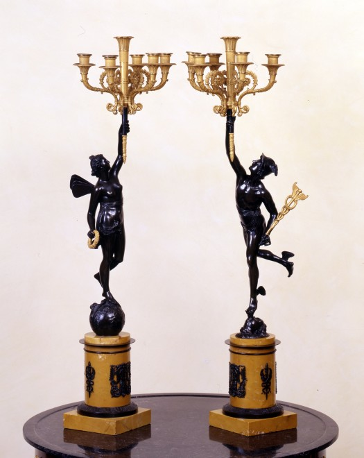 A of Empire figural five-light candelabra by Claude Galle or his son Gérard Galle