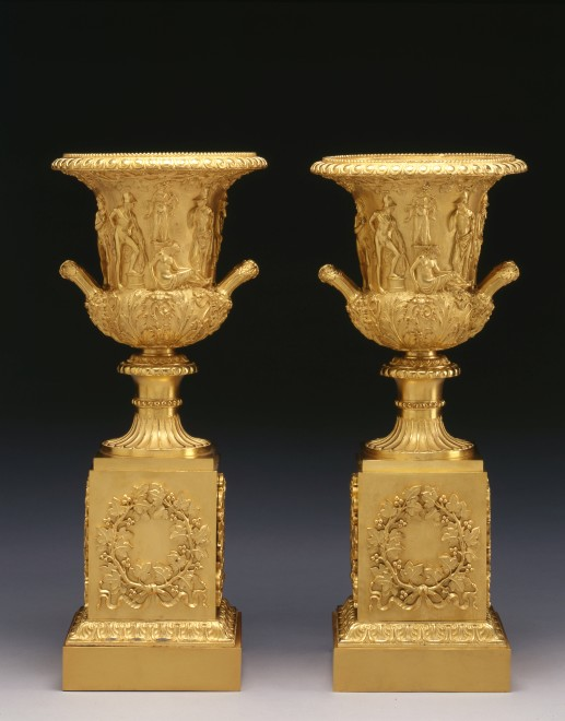 A pair of Empire Medici Vases on pedestals attributed to Pierre-Philippe Thomire
