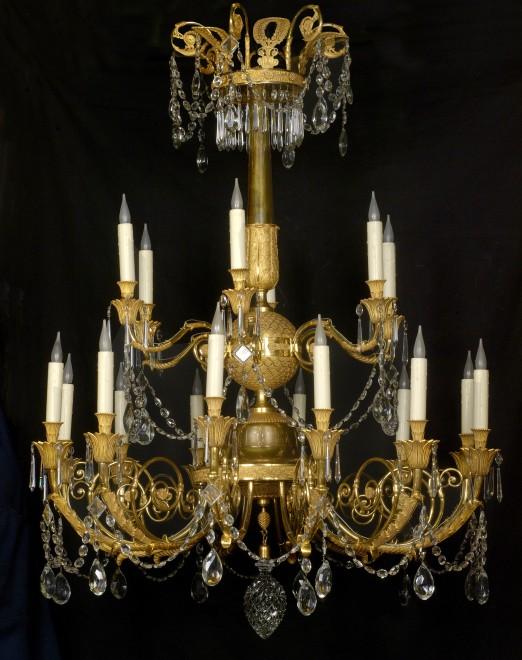 A late Empire eighteen-light chandelier