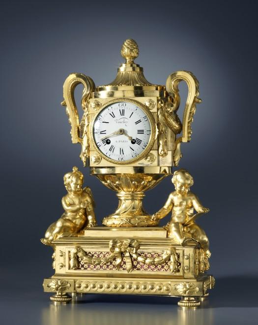 A Louis XVI figural clock with music by Daniel Vauchez