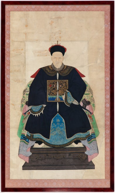 A Chinese late Qing dynasty ancestor portrait showing a senior official of the first rank