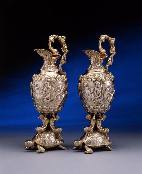 A pair of George IV ewers by Edward Farrell