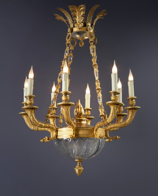 A Restauration eight-light chandelier by Pessoneaux & Colomb