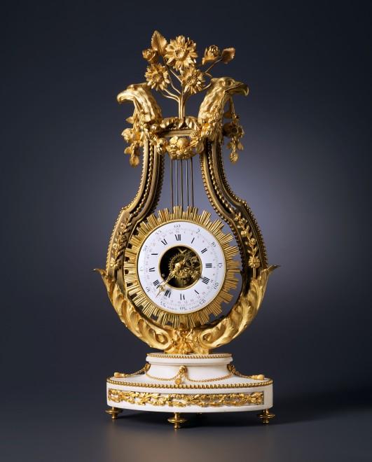A Louis XVI lyre clock by Jean Léonard Roque