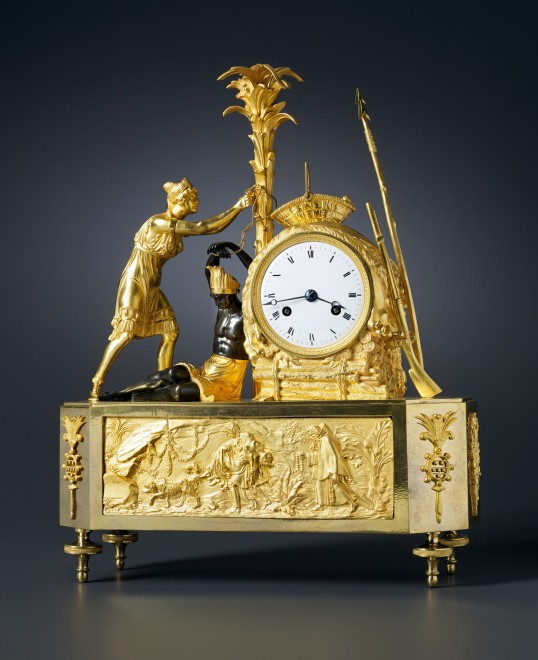 An Empire figural clock depicting the model of Atala freeing Chactas