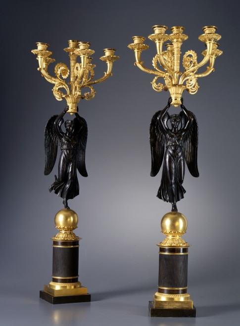 A pair of Empire six-light figural candelabra, attributed to Claude Galle