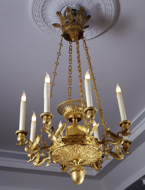 An Empire eight-light chandelier