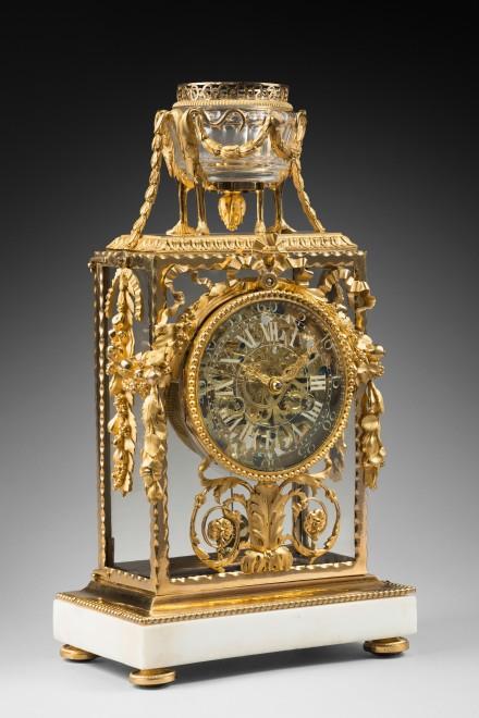 A Louis XVI skeleton mantel clock