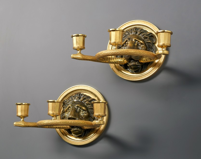 Pierre-Philippe Thomire (attributed to), A pair of Empire three lights wall lights, attributed to Pierre-Philippe Thomire, Paris, date circa 1810-20