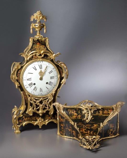 A Louis XV Transitional Louis XVI grande cartel clock with bracket housed in a case by Adrien-Jérôme Jollain