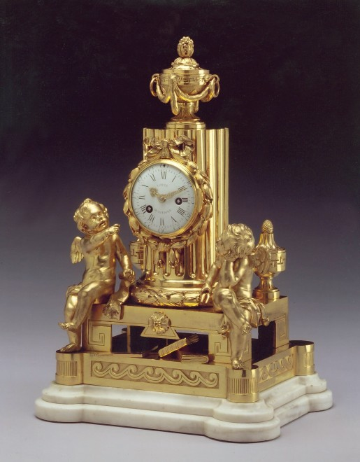 A Louis XVI mantle clock of eight day duration, bx Louis Montjoye housed in a case by Robert Osmond