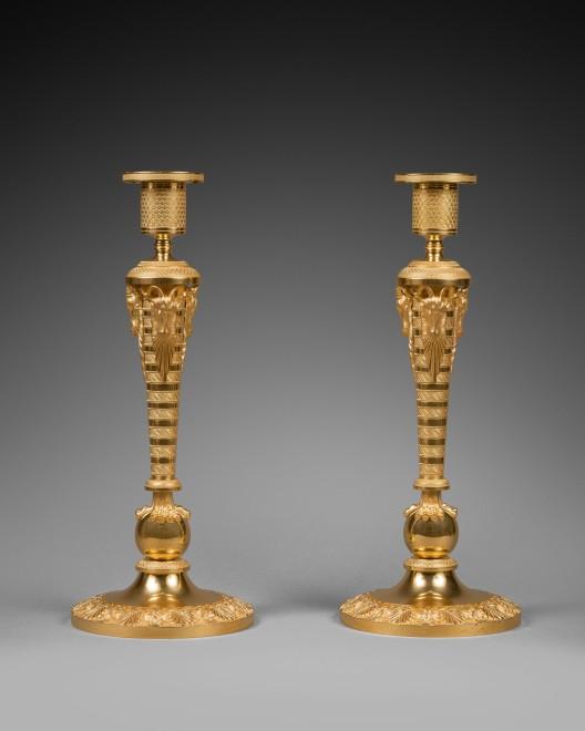 A pair of  large Russian Empire gilt bronze candlesticks