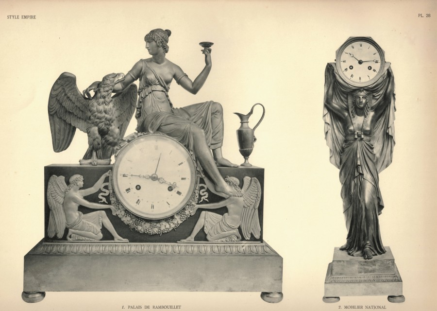 An Empire mantel clock of eight day duration by Mesnil à Paris, housed in a case by André-Antoine Ravrio