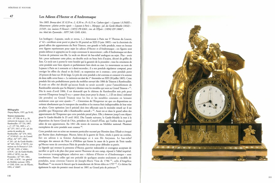 An Empire mantel clock, representing Hector and Andromache's final parting, housed in a case attributed to Claude Galle