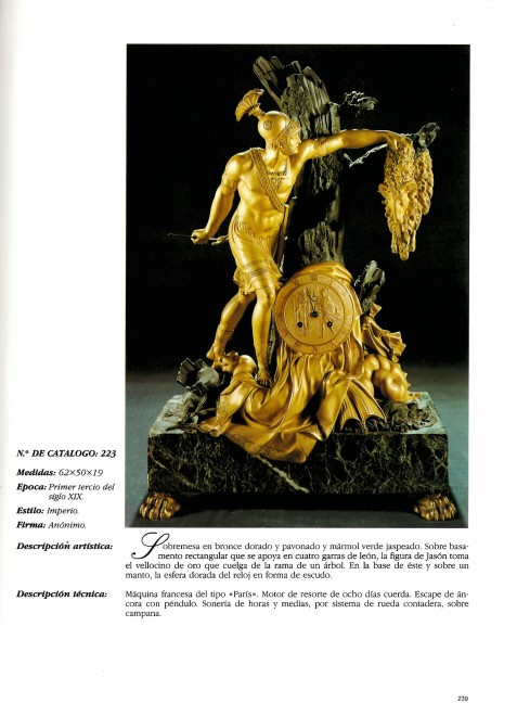 An Empire mantel clock with case representing Jason and the Golden Fleece attributed to Pierre-François Feuchère, page 180 - 181, Nr. 81