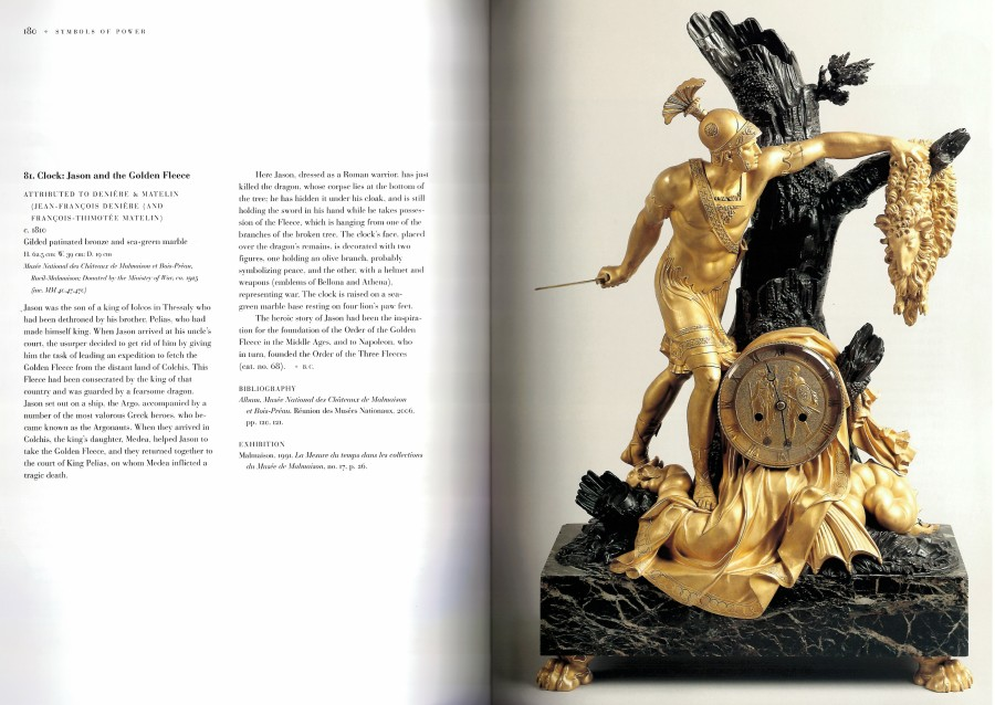 An Empire mantel clock with case representing Jason and the Golden Fleece attributed to Pierre-François Feuchère