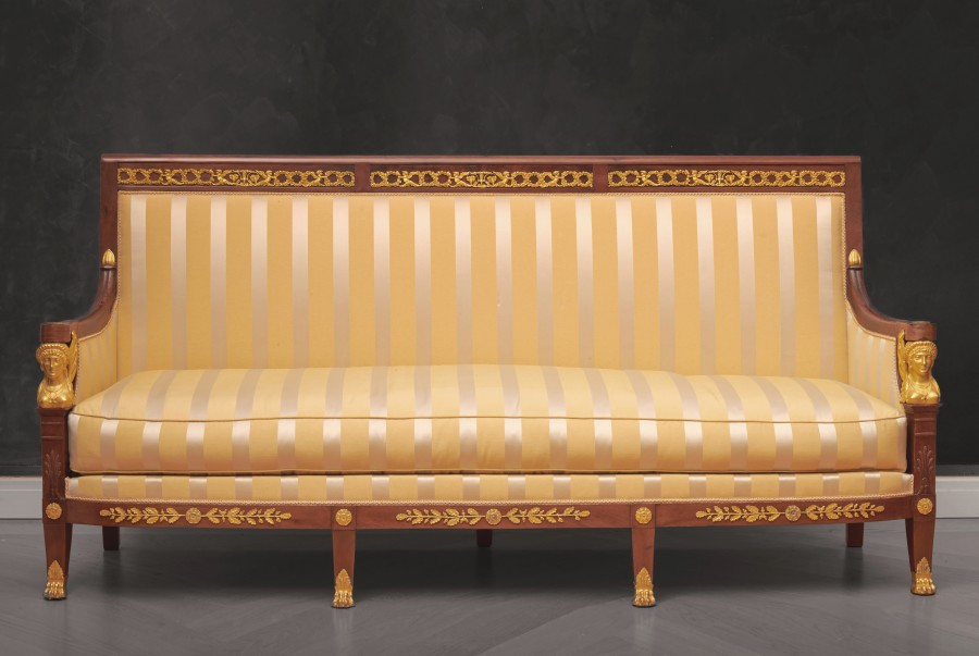 A suite of Restauration seating furniture, containing a pair of bergères, a set of 6 fauteuils and a canapé by Etienne-François Quenne