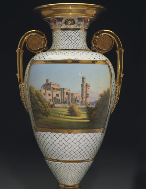 "A highly important Classical armorial and topographical three-piece vase garniture from ""The Meiningen Service""  by KPM"