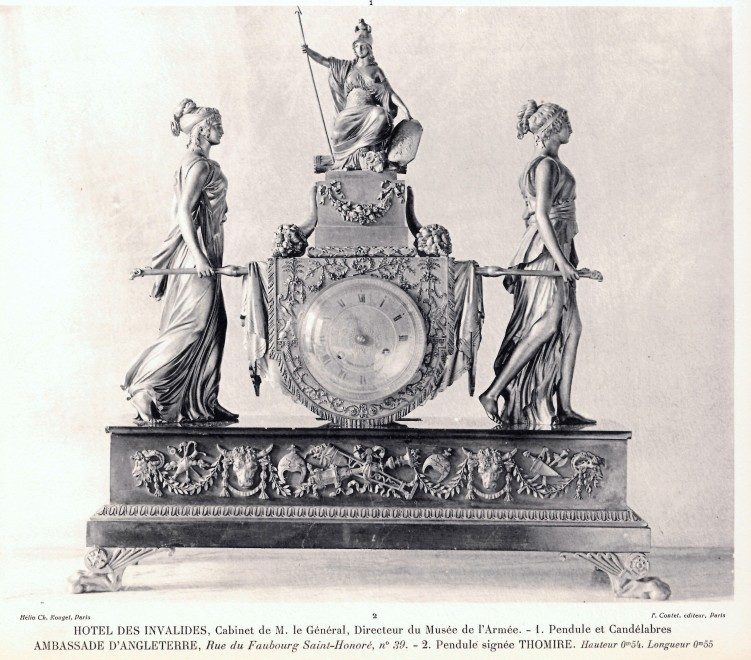 A Louis XVI mantel clock representing the Vestal Virgins Carrying the Sacred Fire by Pierre-Claude Raguet-Lépine