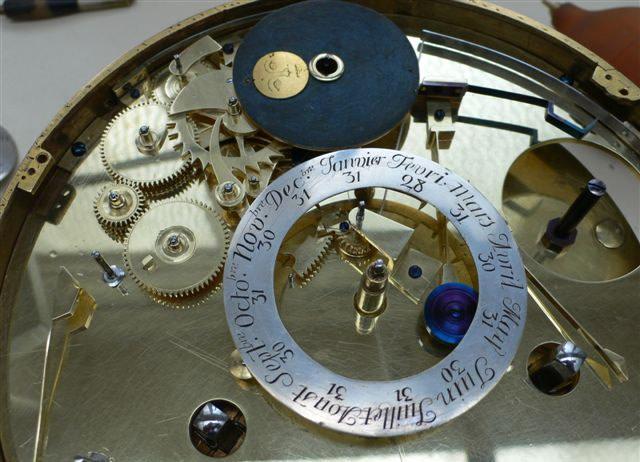 A Louis XV astronomical calendar mantel clock by Pierre Millot