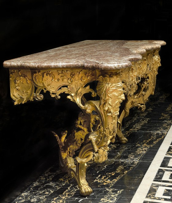 A nineteenth century German Louis XV style console, most probably after a design by Franz Seitz