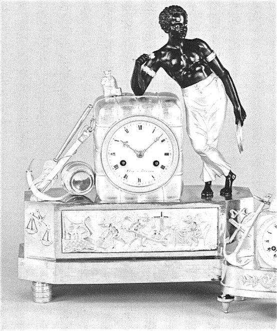 """An Empire clock """"The Sailor"""" attributed to Jean-Simon Deverberie"""
