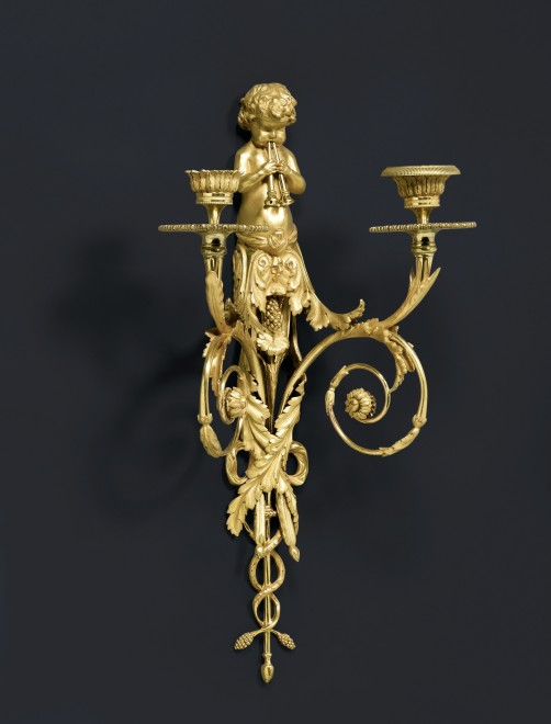 A pair of Louis XVI  two-light wall-lights after a design by Jean Hauré