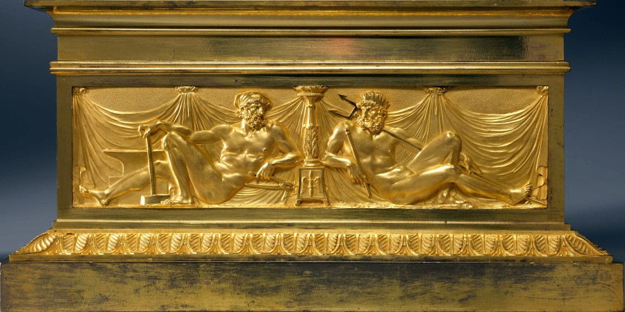 A pair of Louis XVI chenets attributed to Pierre-Philippe Thomire