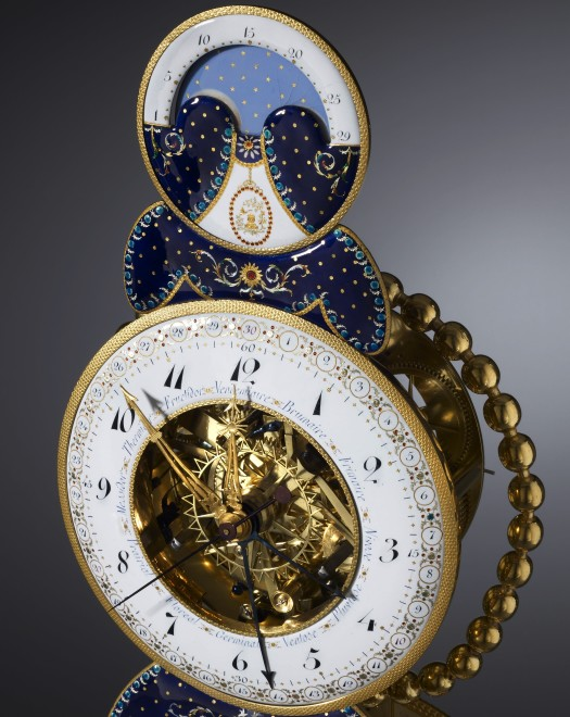 A Directoire skeleton clock, by Laurent Ridel, enamel work by Joseph Coteau