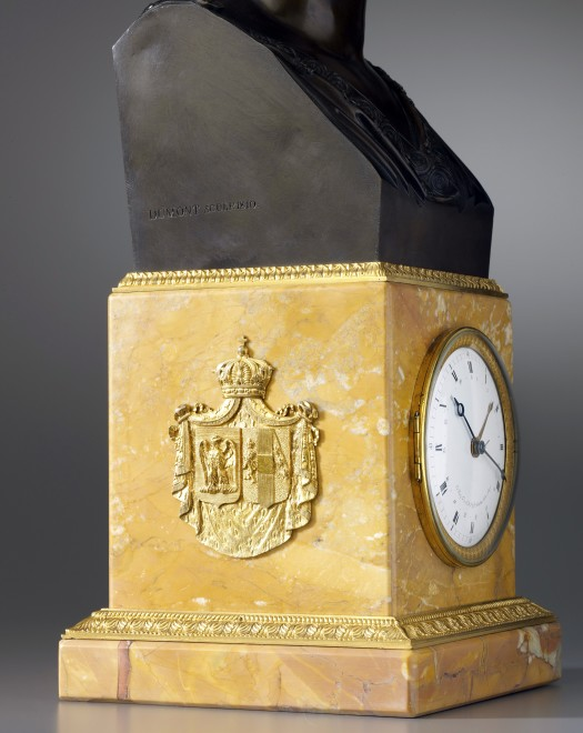 An Empire mantel clock with movement by Basile-Charles Le Roy and bronze bust by Jacques-Edmé Dumont