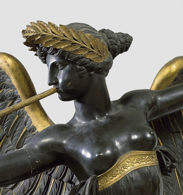 An Empire winged statue, representing Fame after a design by Pierre-Louis-Arnulphe Duguers de Montrosier