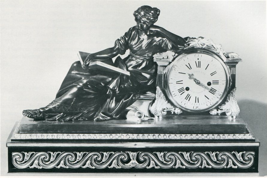 A Louis XVI mantel pendule %22à la Geoffrin%22, by Ferdinand Berthoud, case attributed to Edme Roy, base by Balthazar Lieutaud