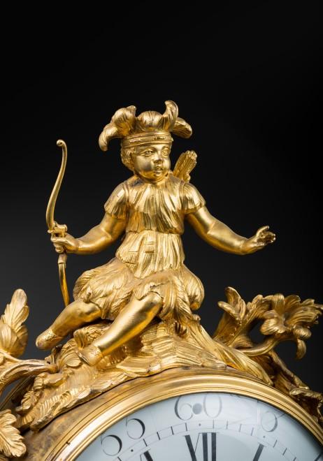 A Louis XV 'Pendule au Rhinoceros'  by Noel Baltazar, the musical movement by Viger, case by Jean-Joseph de Saint-Germain