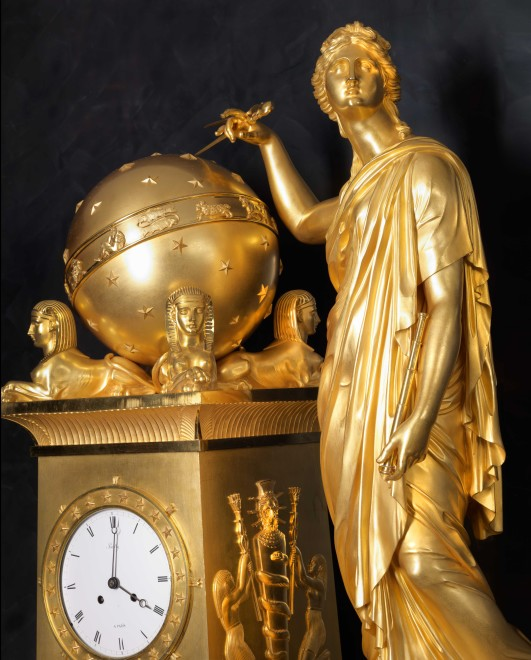 An Empire mantel clock by Bailly, case attributed to Denière