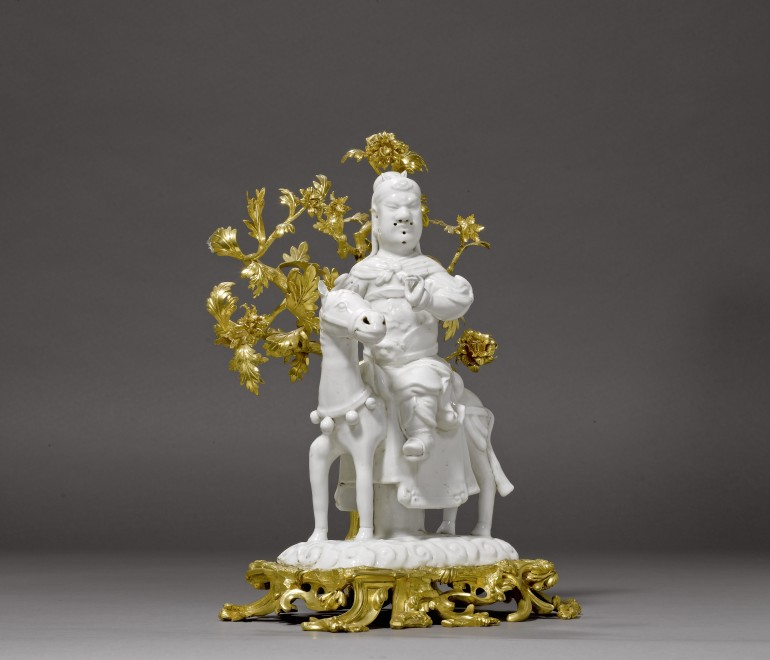 A Kangxi figure of Guan-Di seated on his horse