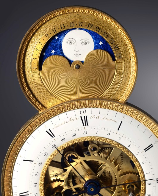 An Empire skeleton clock of eight day duration by Jean-Claude Lemoine