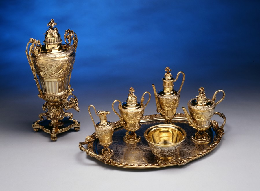 A Louis XVI Style seven-piece tea and coffee service by Jean-Baptiste-Gustave Odiot